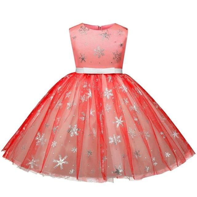 Toddler Girls Christmas Snowflake Print Dress Birthday Pageant Bow Gown for Kids