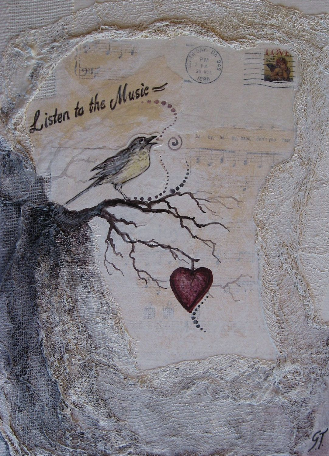 Mixed Media Original Painting by Griselda Tello ...Listen to the music of my heart....  via Etsy.  I hope you enjoy your visit All rights reserved, Griselda Tello © 2012