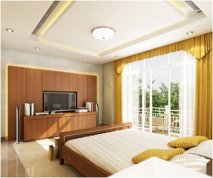 modern false ceiling designs for master bedroom with screen tv - Master Bedroom Ceiling Designs