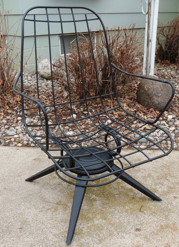 Vintage Homecrest Wire Chair Mid Century Modern Eames Era Black Patio Office Swive
