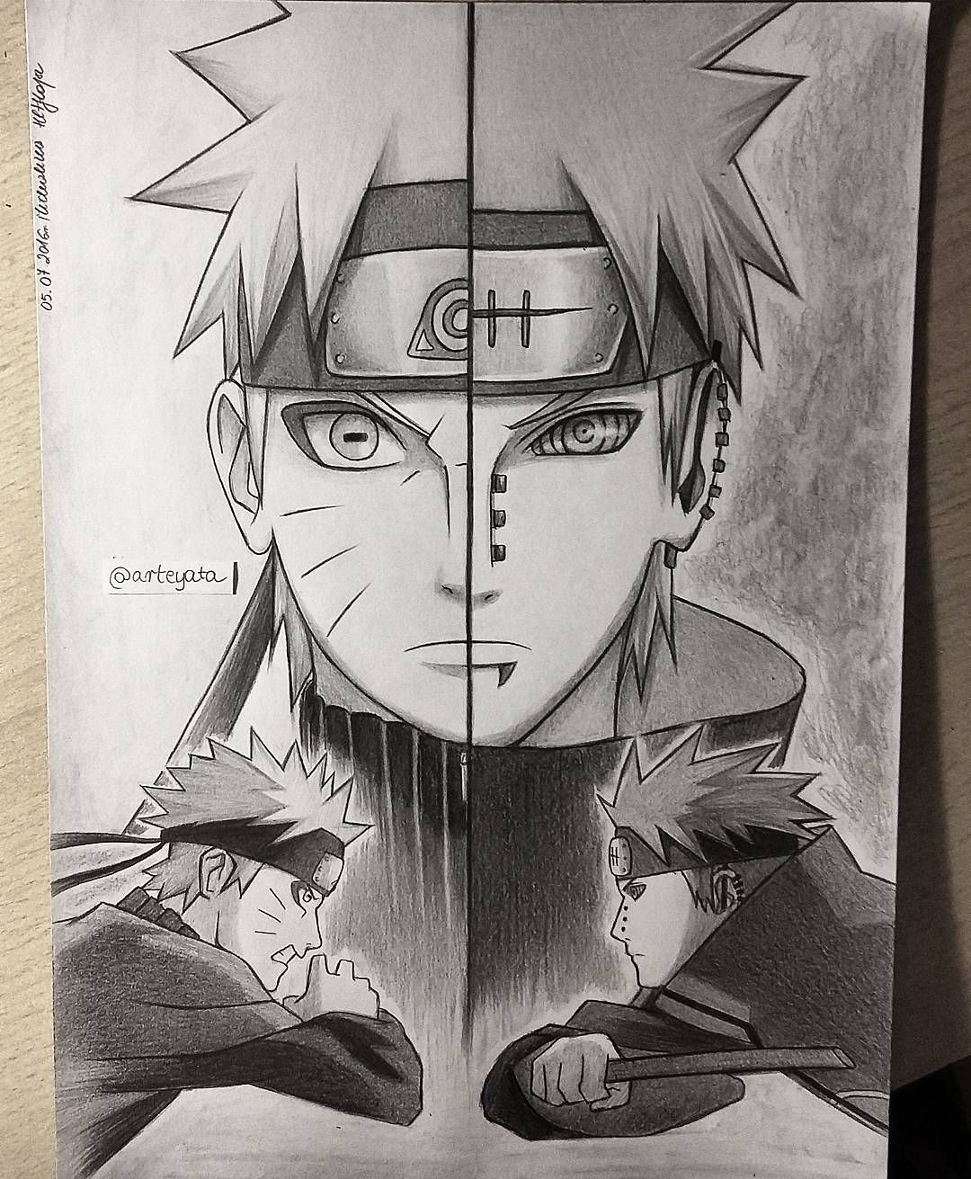 """Photo of @arteyata on Instagram: """"Naruto vs Pain this one took me almost 10 hours to make I'm so sloww"""""""