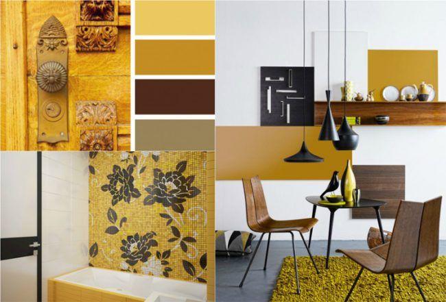 Holz Wohnzimmer ~ Farbe ocker kombinieren braun walnuss holz wohnzimmer bad
