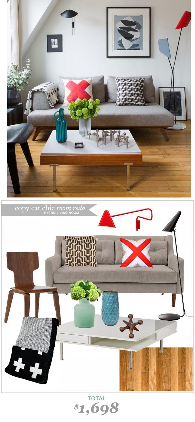 #CopycatchicRoomRedo by #LindseyBoyer | Retro Modern Living Room for $1698