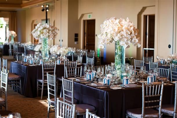 tall cyllendar vases with blue water and white sprays of orchids on top..beautiful..  elegant , but simple