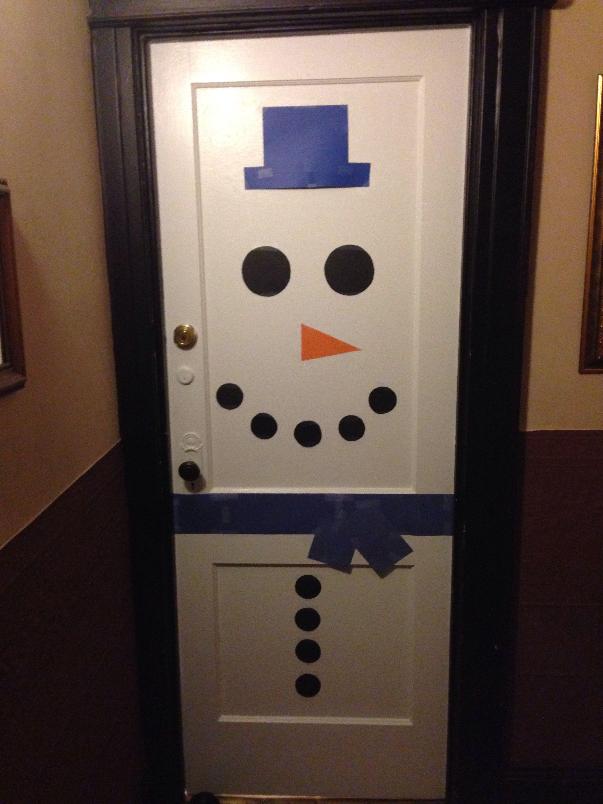 Snowman door decoration   DIY   Pinterest   Snowman door ...