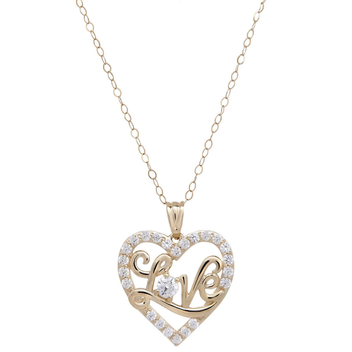 Believe by brilliance cz kt yellow gold love open heart pendant