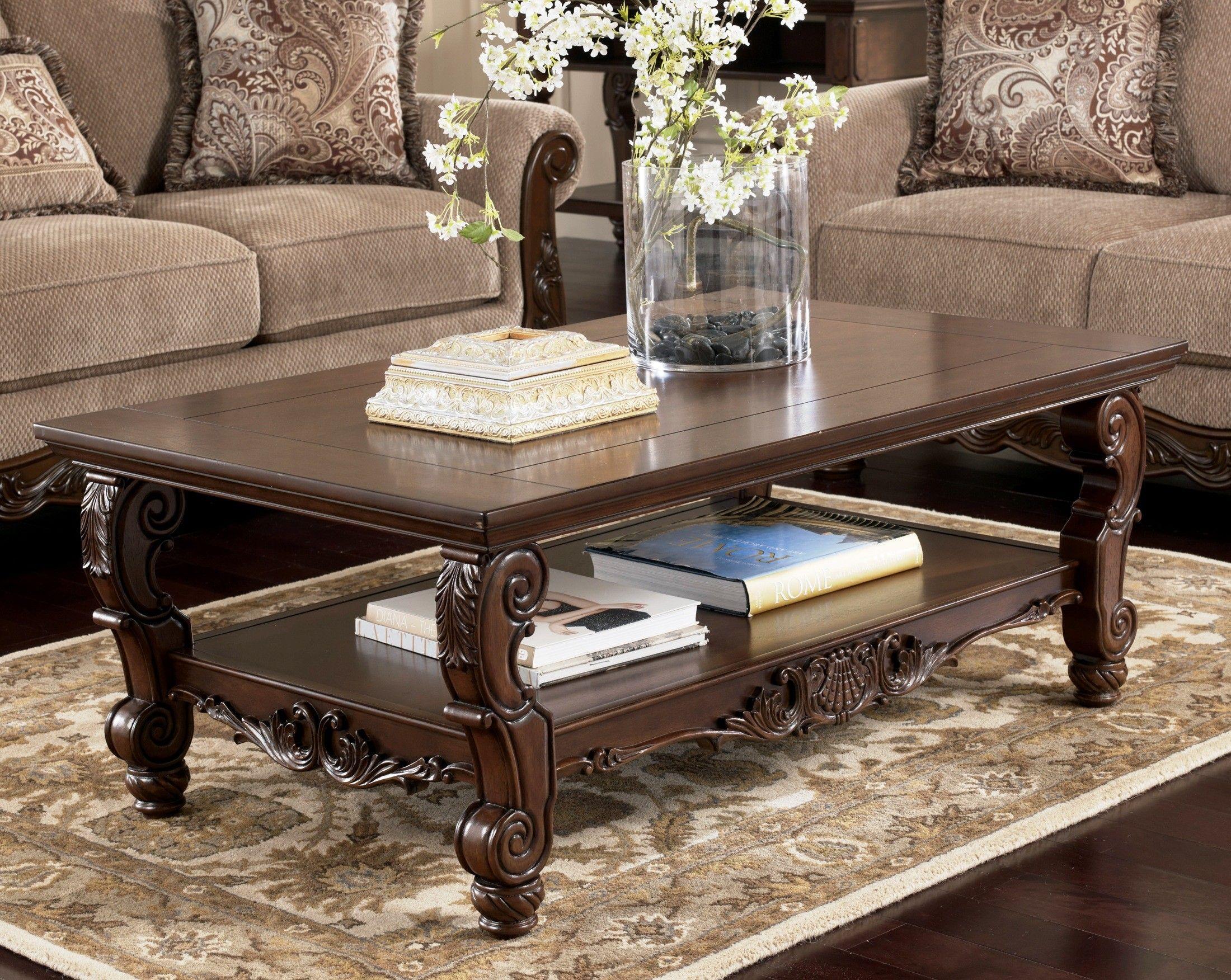 San Martin Occasional Table Set T573 Ashley Furniture Coffee Table Furniture Traditional Coffee Table