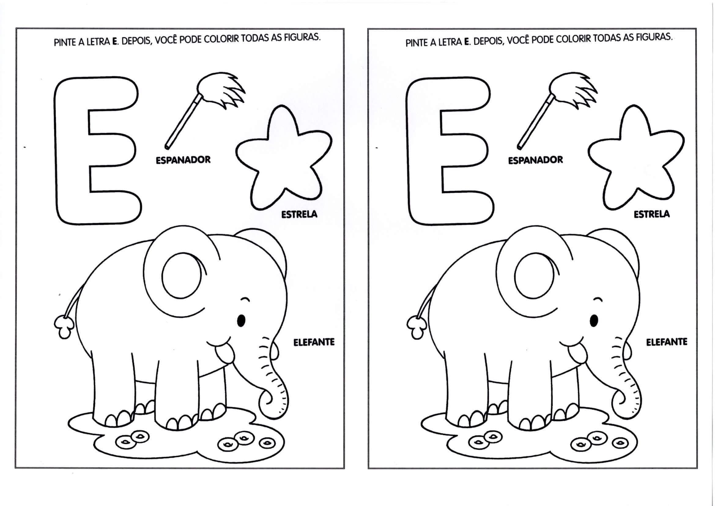 Vogais Pinte A Letra E As Figuras Com Imagens Atividades