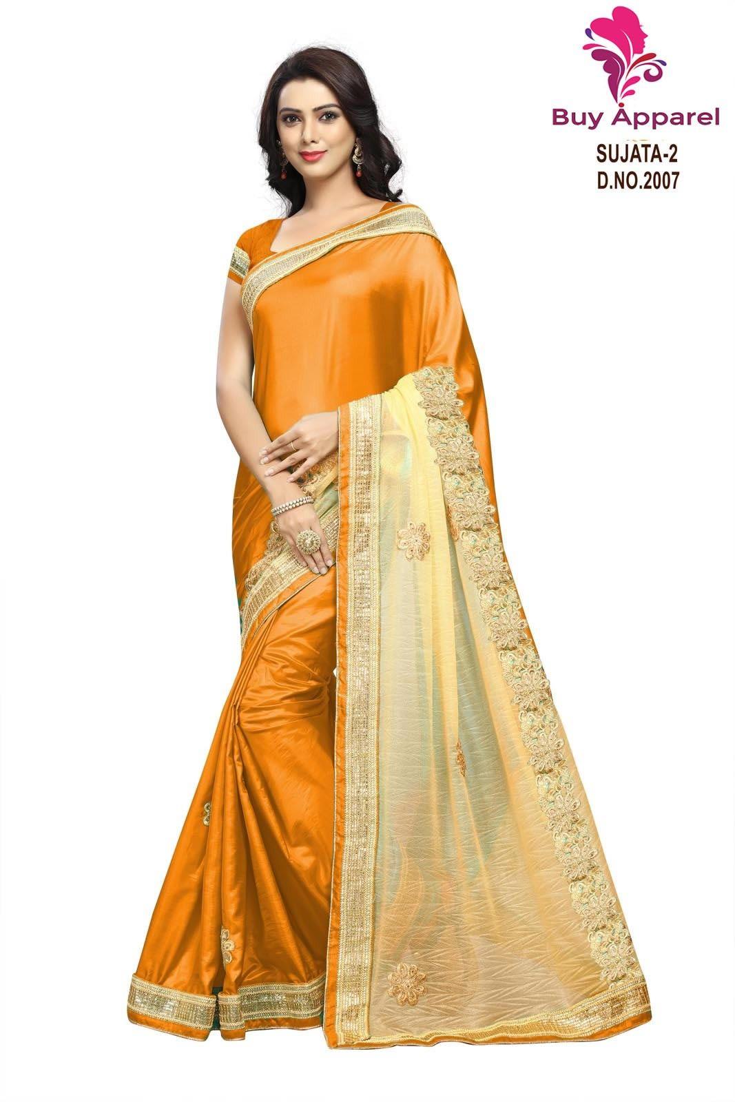 da2f22f7b367a buy saree online Orange Colour Designer Embroidered Paper Silk Saree Buy  Saree online UK - Buy Sarees online
