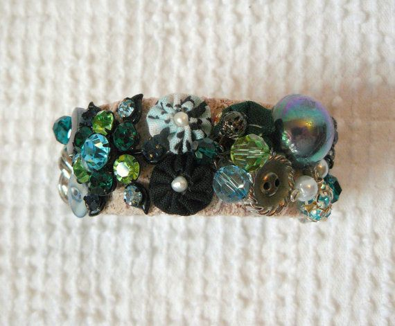 Cuff Bracelet with Vintage Jewelry Bits and by JellyJarJewels