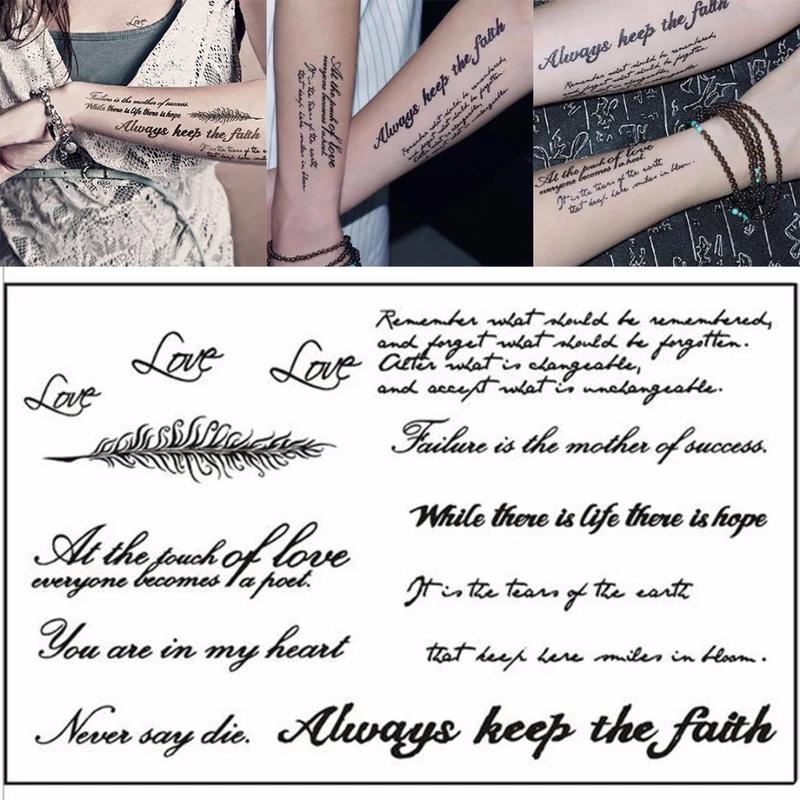 1 Sheet Temporary English Word Tattoo Stickers Black Letters Feather Body Art Tattoos Sticker Waterproof For Temporary Word Tattoos Tattoo Stickers Diy Tattoo