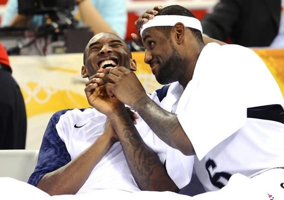Kobe Bryant And Lebron James Have A Laugh On The Bench