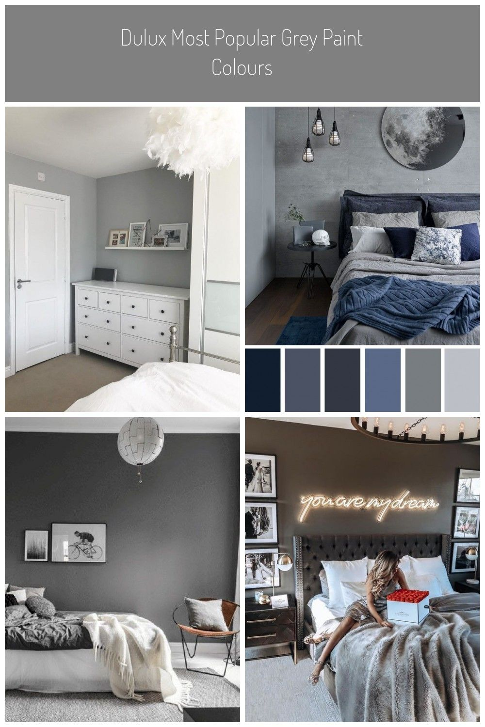 Dulux Most Popular Grey Paint Colours. Bedroom walls painted in