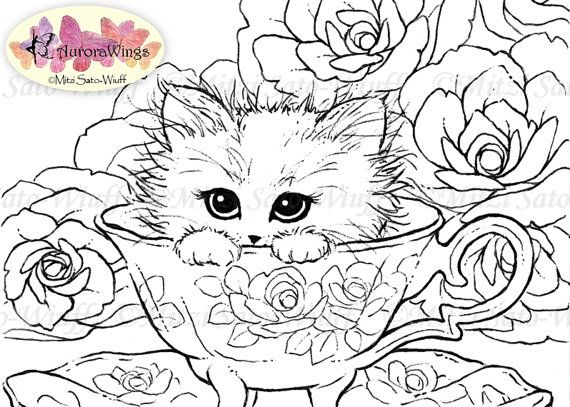 Digital Stamp Instant Download Kitten in a Teacup by ...