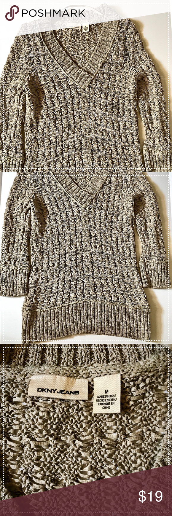 DKNY taupe sweater. Like new Only worn twice! In excellent condition! Great for the beach or even for fall! Very versatile Dkny Sweaters V-Necks
