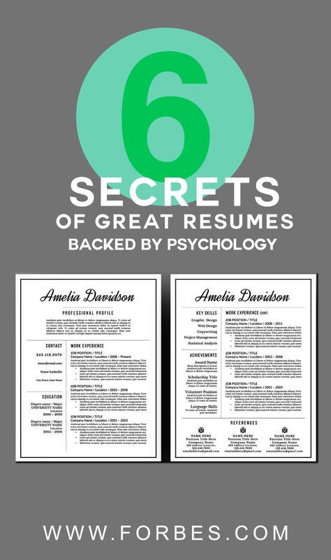 6 Secrets of Great Resumes, Backed By Psychology Pinterest