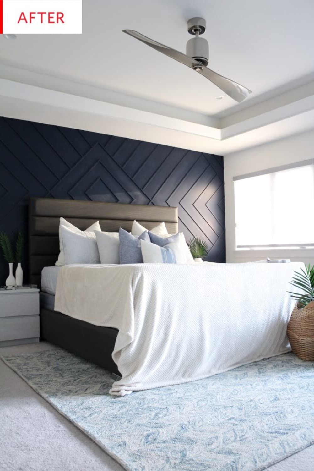 Before And After A 180 Feature Wall Transforms A Master Bedroom Feature Wall Bedroom Master Bedroom Makeover Coastal Master Bedroom