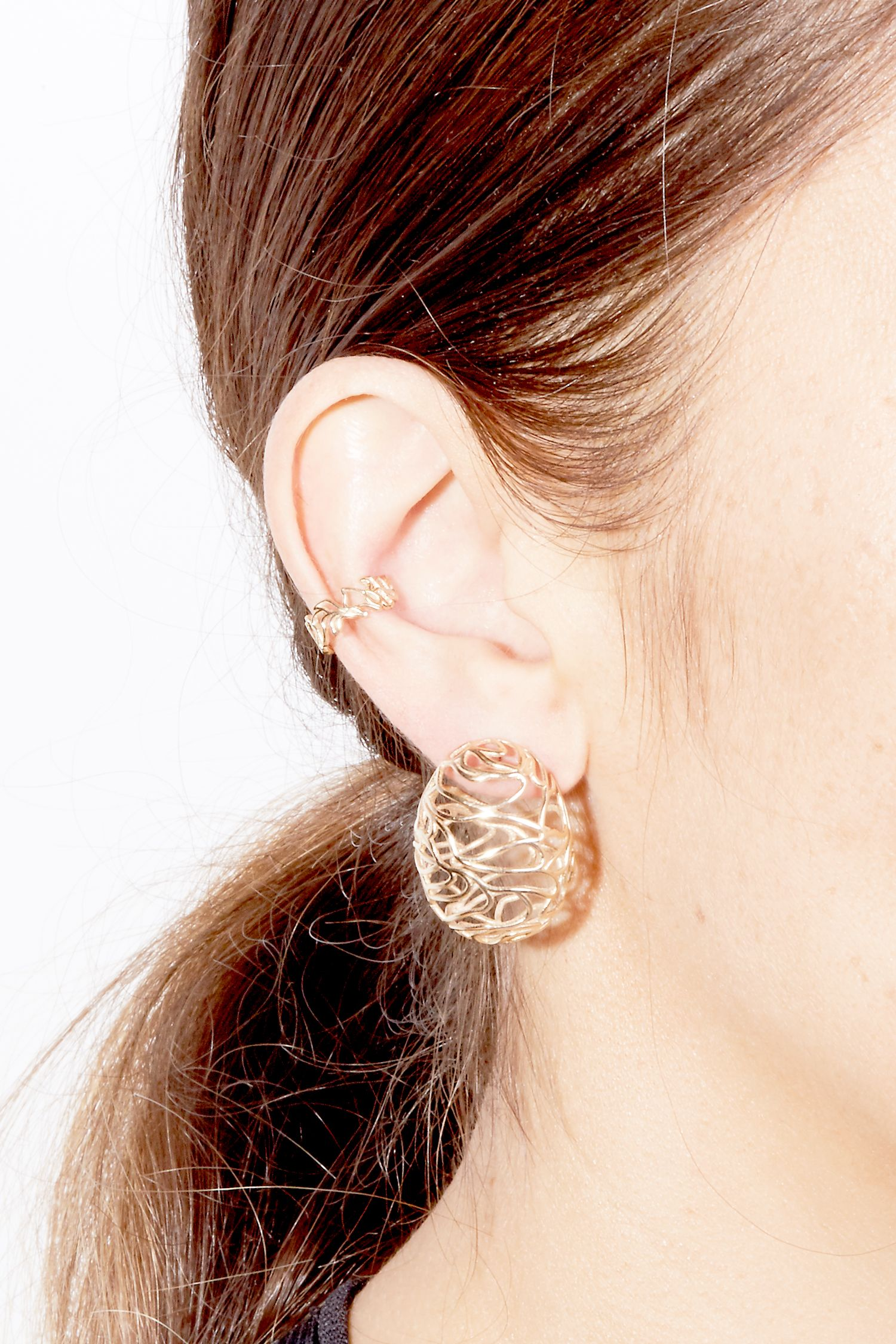 The oyster bed ear cuff and oyster bed hoops by sarah sebastian the large scribble egg earrings and scribble ear cuff by sarah sebastian baditri Choice Image