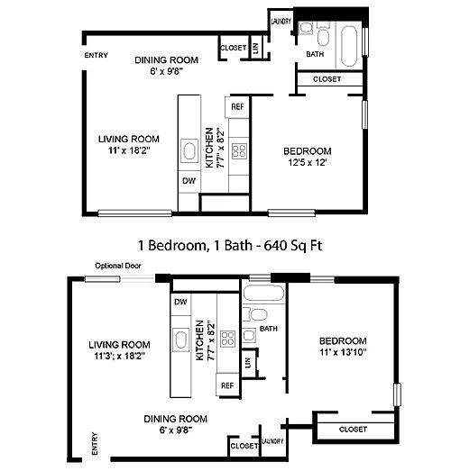 Park At Arlington Ridge 1 Bedroom 1 Bath Floor Plan 640