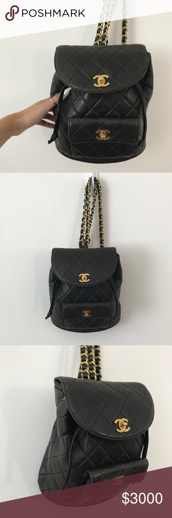 Vintage Chanel backpack quilted gold cc bag purse Vintage Chanel black  quilted cc gold lambskin backpack bag purse. Authentic Chanel. Lambskin  leather. 4c34d599b172c