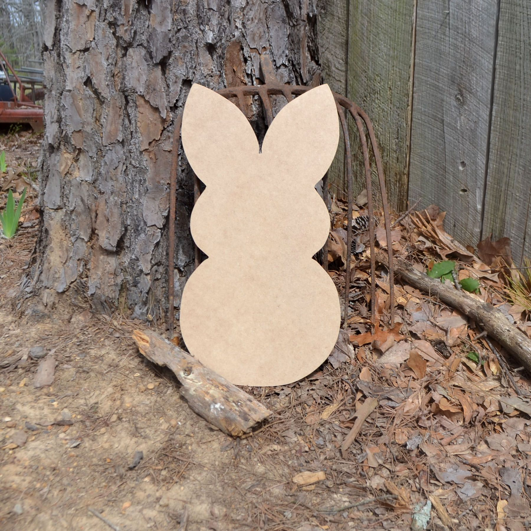 Unfinished snow bunny wood cuout! Ready to be painted! Can be purchased at www.build-a-cross.com #buildacross #bunny #cutout