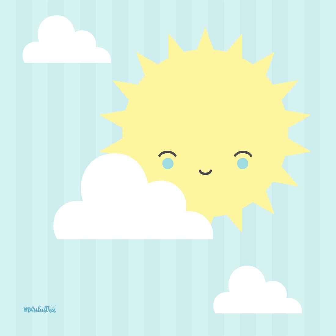 Sol e nuvens bebe habitaciones bebes y laminas infantiles for Laminas infantiles para imprimir