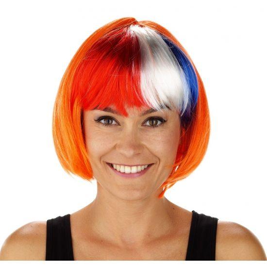 Holland boblijn pruik voor dames. Holland boblijn pruik in de kleuren rood, wit, blauw en oranje.