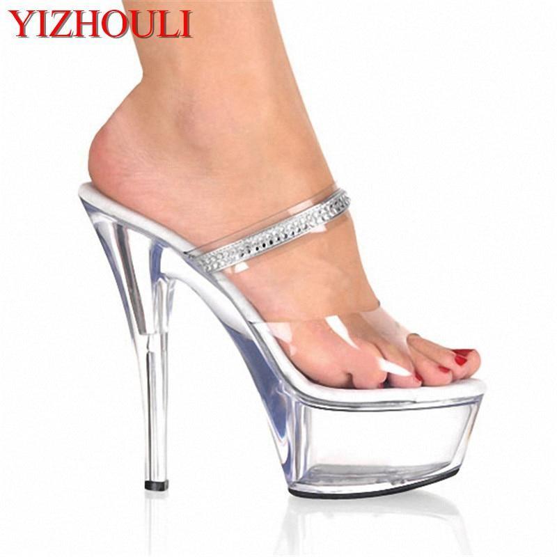 6 Inch High Heel Shoes Sexy Party Crystal Slippers Rhinestone Clear Sandals  Platform 15cm High Heels db9fa164c250