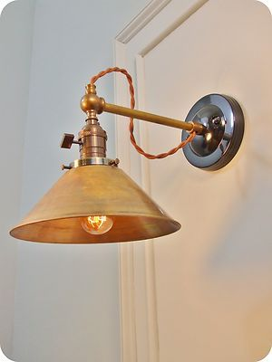 Details About Industrial Lighting Vintage Brass Wall Sconce