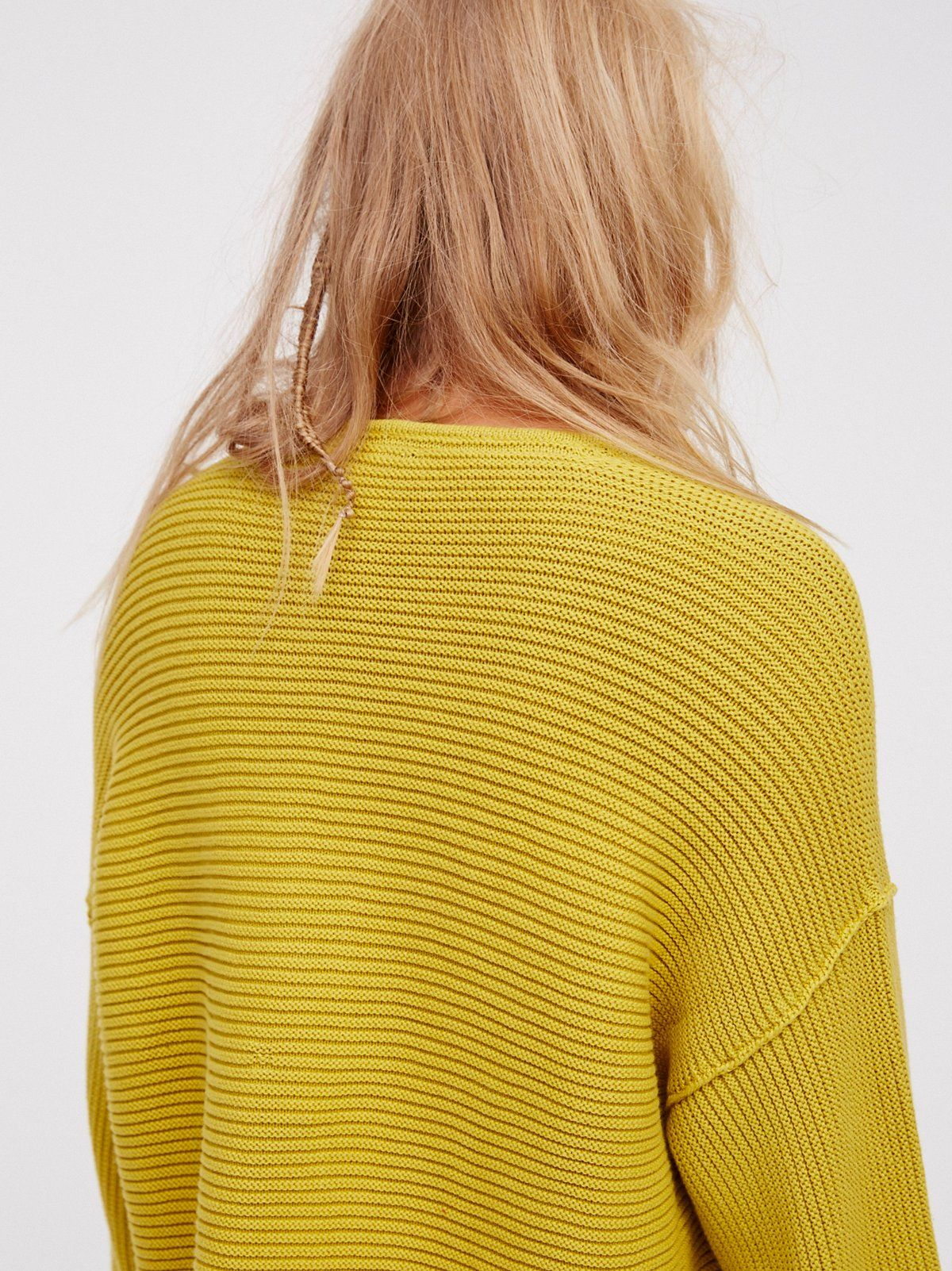 bdeca6b4d73df FP La Brea V-Neck Oversized Heavy Knit Pullover Sweater (Chartreuse ...