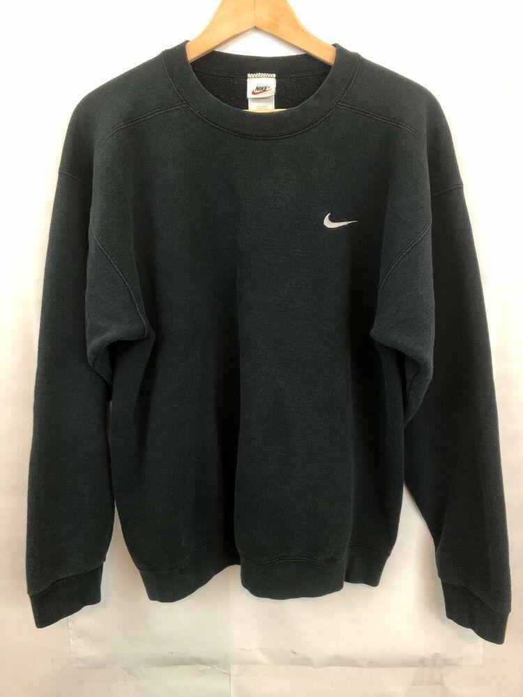 Vintage Nike Swoosh Pullover Sweatshirt Men S Sz M Black Made In Usa Nike Sweatshirt Pullover Sweatshirt Men Mens Sweatshirts Sweatshirts