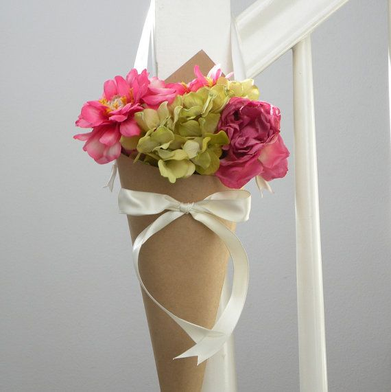 Simple Wedding Church Pew Decorations: Rustic Kraft Paper Wedding Cone With Ivory Ribbon & Bow