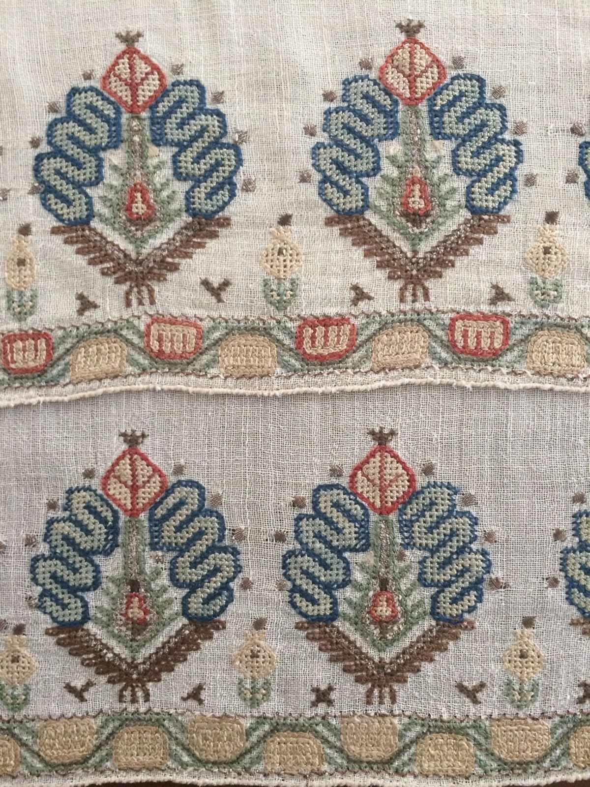 19th C Antique Ottoman Turkish Hand Embroidery On Linen Yaglik