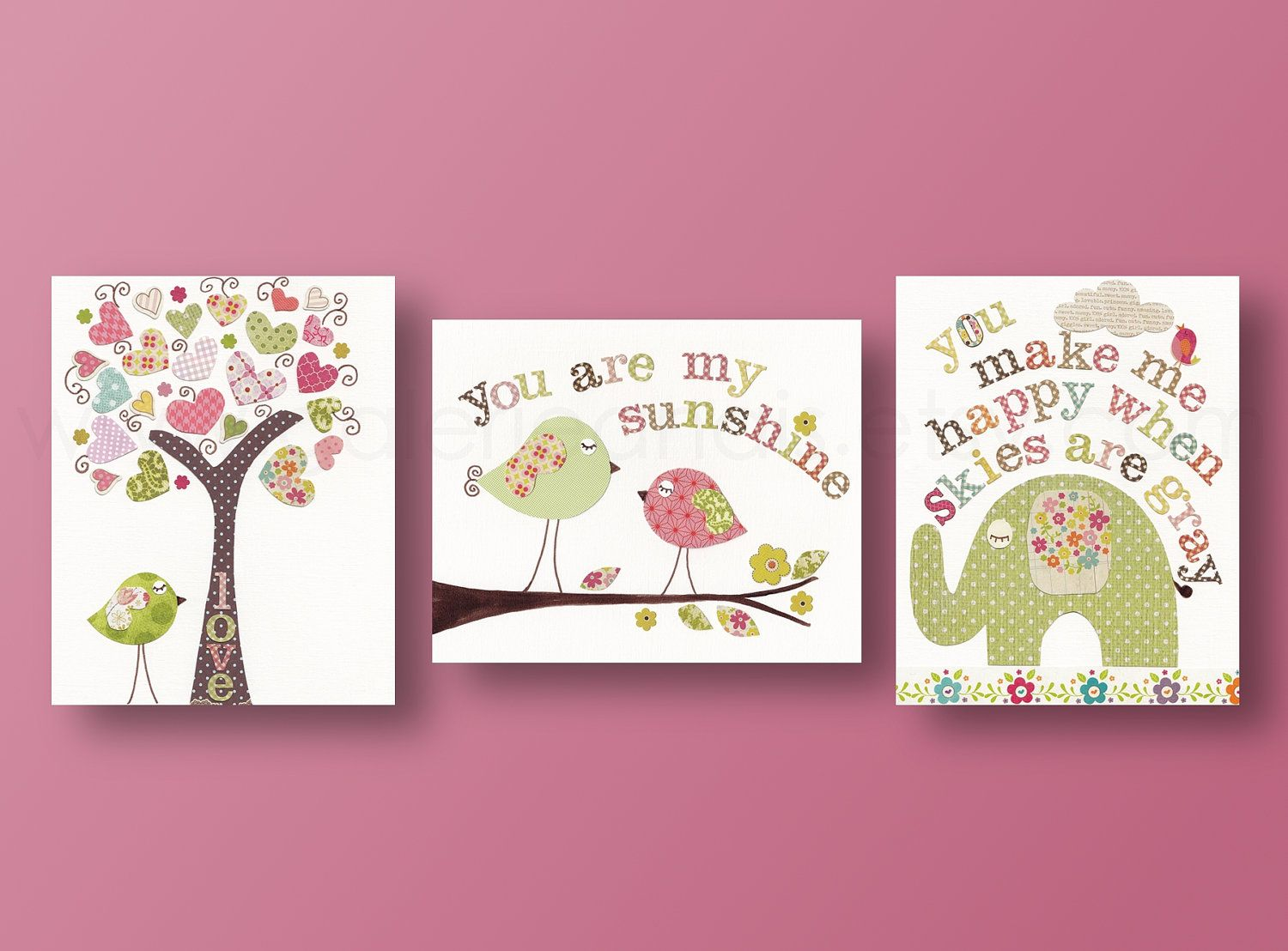 artwork nursery art prints baby nursery decor kids wall art children wall art tree bird elephant you are my sunshine set of 3 prints - Kids Wall Decor