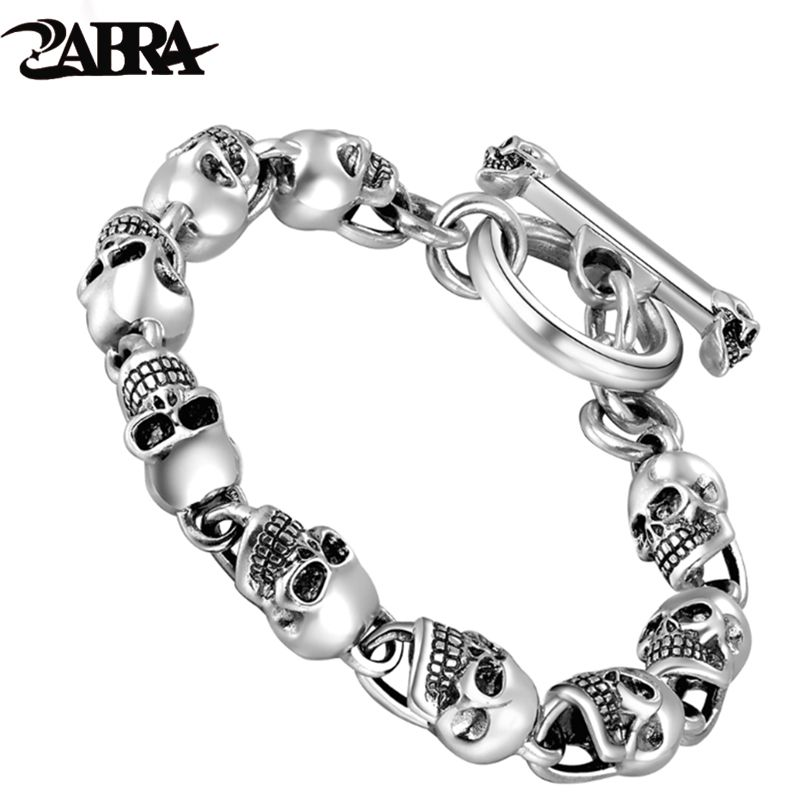 Hand polished Retro craft Punk Gothic Skull mens bracelet Handmade Fine 925 Sterling Silver Skull Bracelet Chain Link Men/'s gift 62g