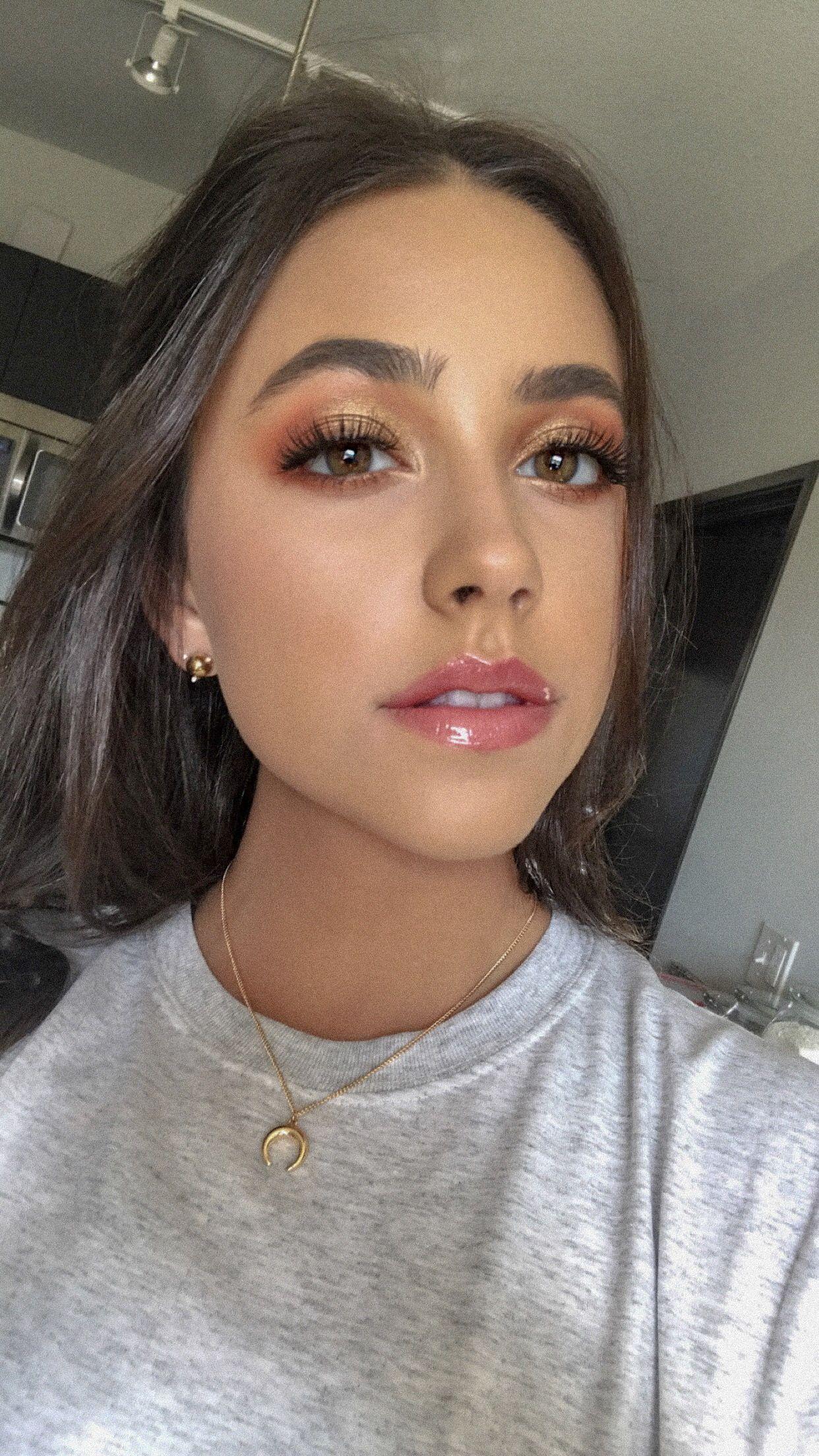 Bronze Gold Makeup Eyeshadow Glossy Lip Audriegracebeauty Gold