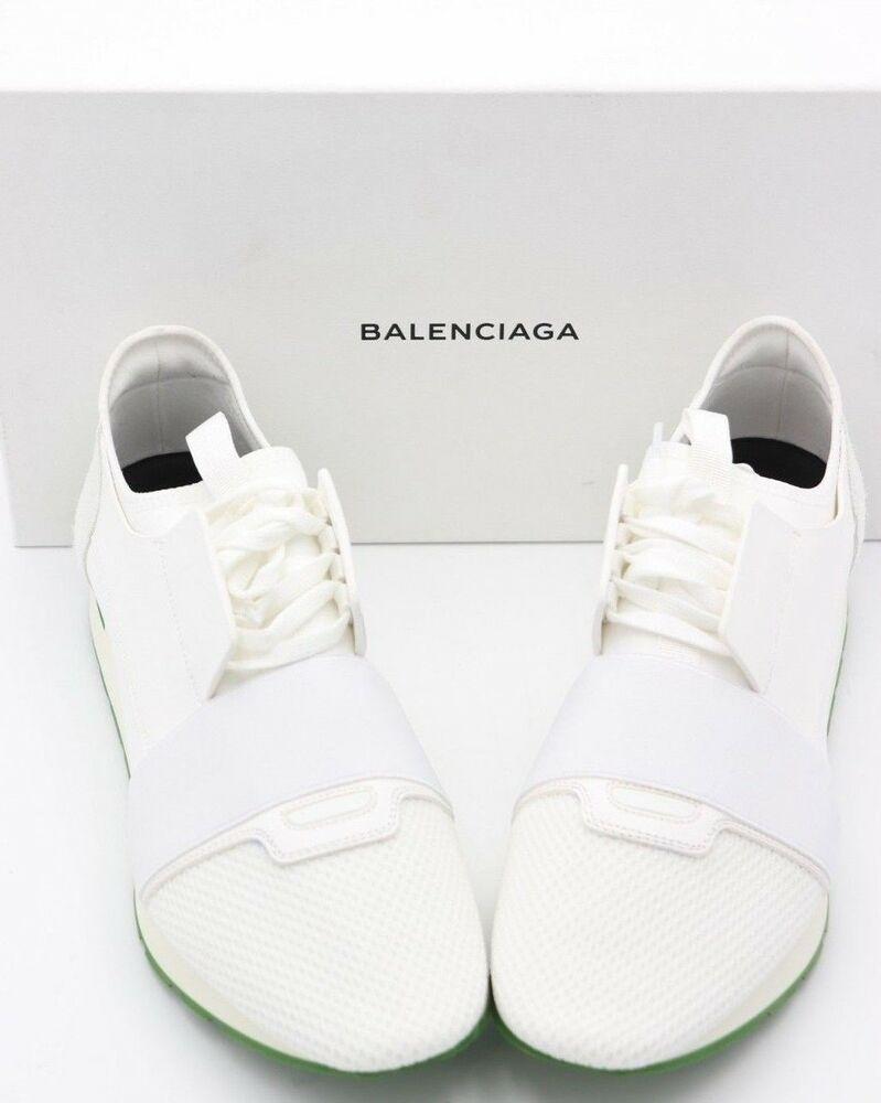 NIB BALENCIAGA Mens White Green Race
