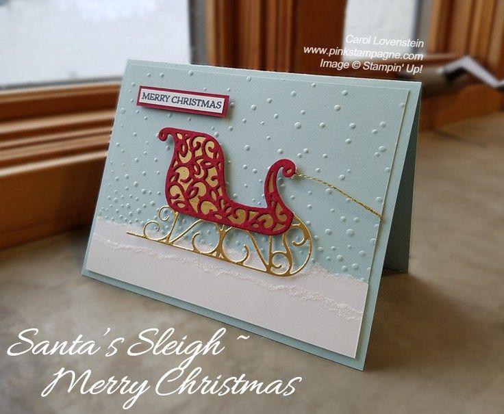 Santa's Sleigh, Gold Foil, Santa's Sleigh Thinlits, Gently Falling EF, Baker's Twine Trio Pack (Gold), Dazzling Diamonds Glitter