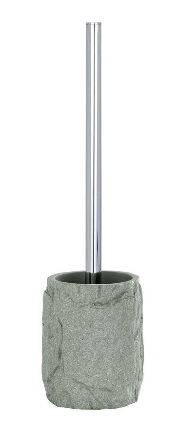 Die ausgefallene WC-Garnitur aus hochwertigen Polyresin hat eine spezielle Oberflächenstruktur in Stein-Optik. Auf den ersten Blick sieht der Bürsten-Behälter wie echter Stein aus, ein toller Blickfang. Gesehen für € 15,95 bei kloundco.de.