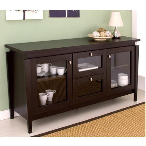 Sideboard Buffet Server Display Cabinet Hutch Dining Room Furniture Espresso New