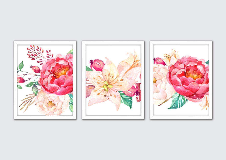 Peony Wall Art peony prints, pink peonies wall art, flower nursery, floral print
