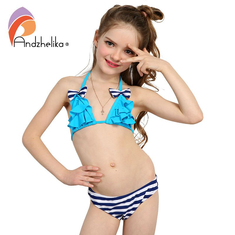 af5172fe965ee Andzhelika 2017 New Bikinis Set Children's Swimsuit Cute Bow Solid striped  Bottom Girls Swimwear Swimming Suit 10-16 year old // FREE Worldwide  Shipping!