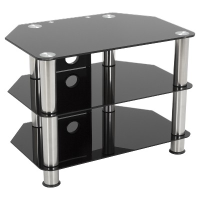 Tv Stand With Cable Management 42 Silver Black Avf Glass