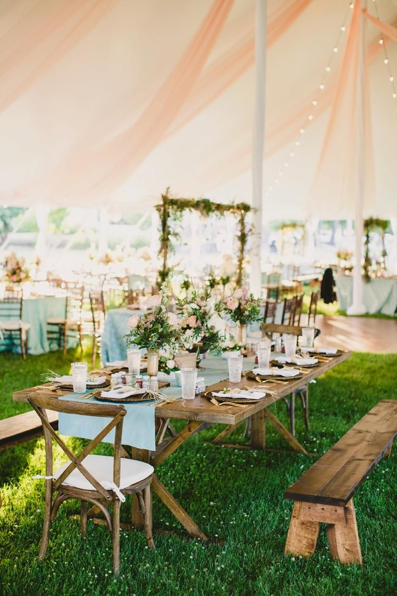 Bench Style Seating Makes For A More Casual Wedding Reception Perfect Summertime