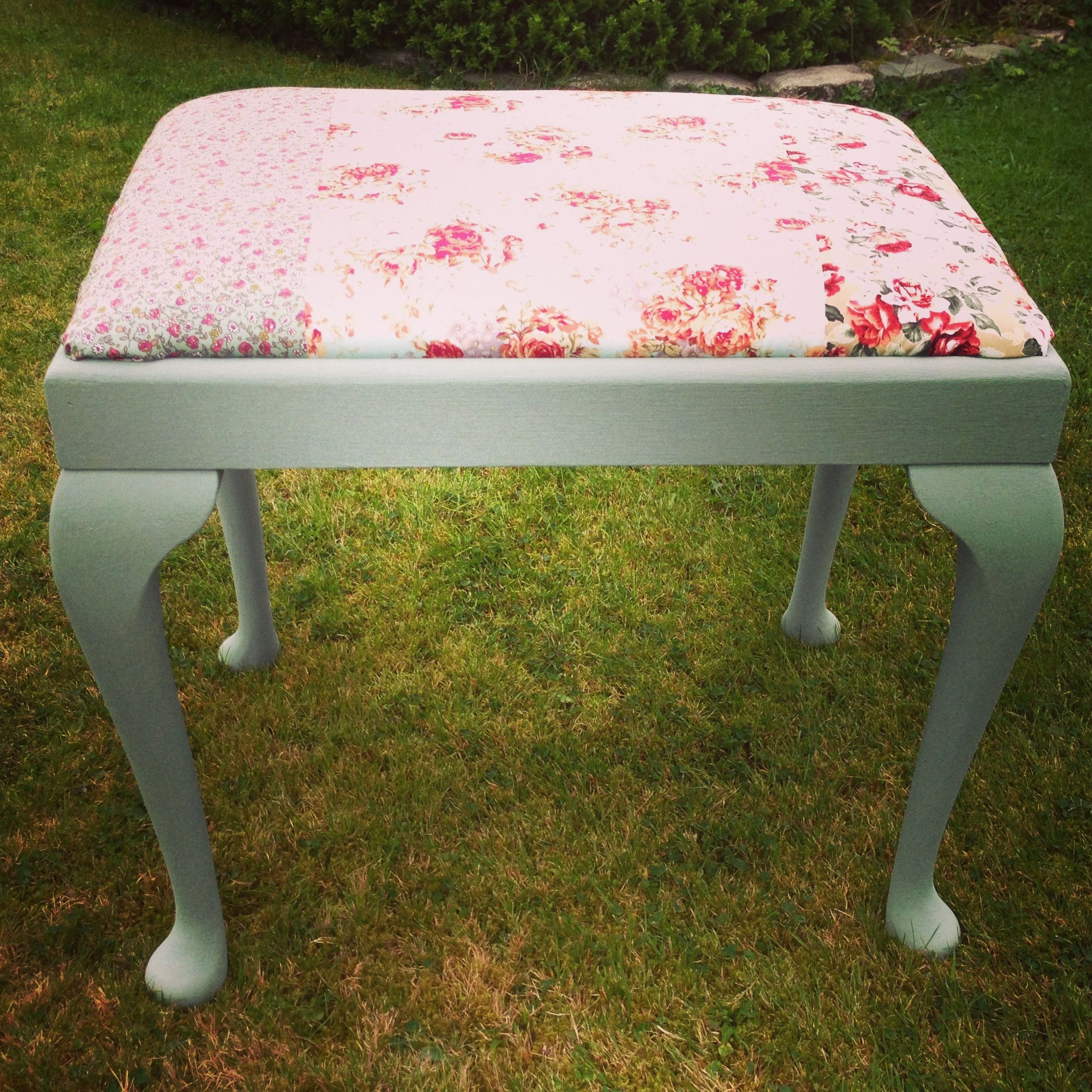 Painted this today, duck egg blue chalk paint and recovered. Love it!