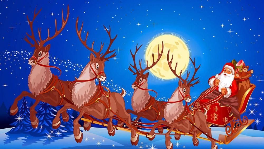 Santa Claus Sleigh With Reindeers And Gifts In The Full Moon Wallpaper Santa Claus Wallpaper Christmas Wallpaper Hd Christmas Wallpaper