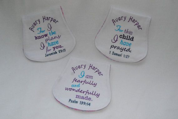 Set of Three Bible Verse Burp Cloths Lavender by SewYoungAtHeart on Etsy $30