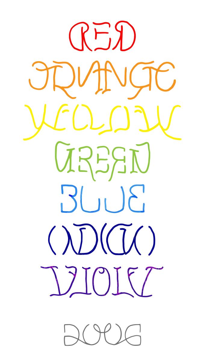 FileRainbow reflection ambigram.svg Ambigram, Ambigram
