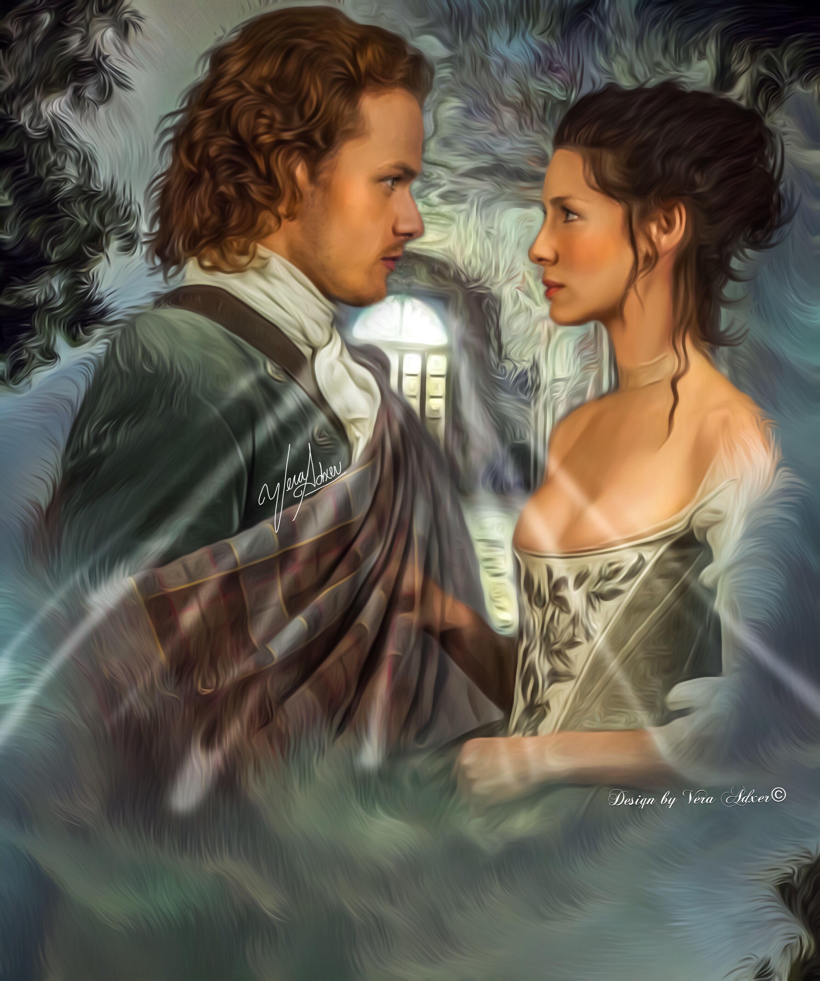 Outlander Claire & Jamie Caitriona Balfe Sam Heughan