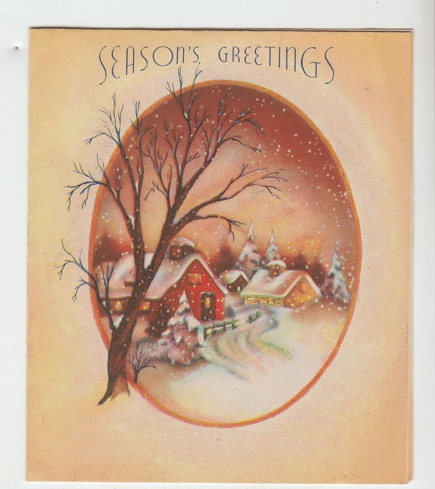 Us 299 used in collectibles paper vintage greeting cards snowy vintage winter village by tree christmas greeting card m4hsunfo